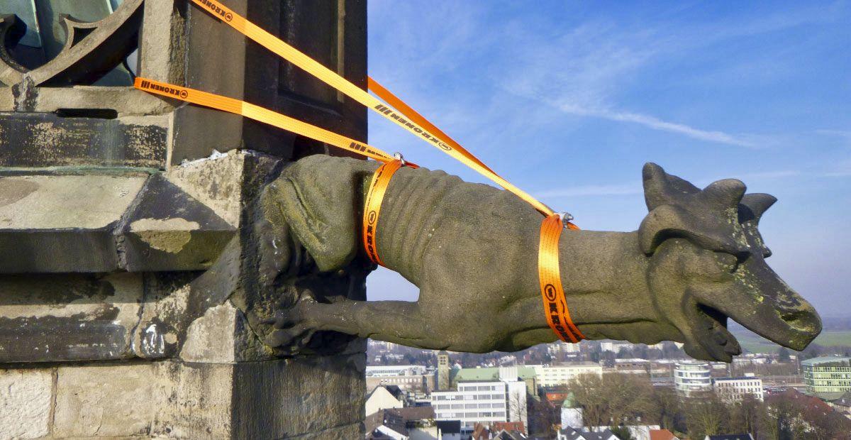 Gesicherter Wasserspeier auf der Stadtkirche Unna (Nordrhein-Westfalen).